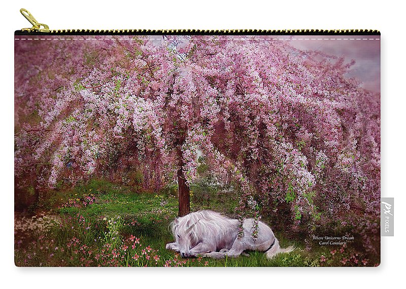 Unicorn Carry-all Pouch featuring the mixed media Where Unicorn's Dream by Carol Cavalaris