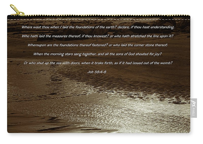 Beach Carry-all Pouch featuring the photograph Where Were You When God Layed The Foundations by Kathy Clark