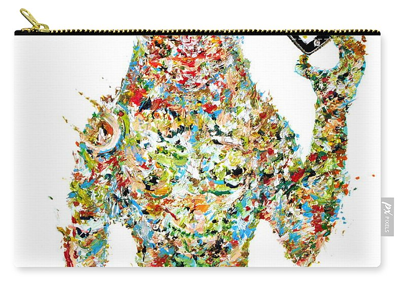 Phone Carry-all Pouch featuring the painting While My Smartphone Gently Weeps by Fabrizio Cassetta