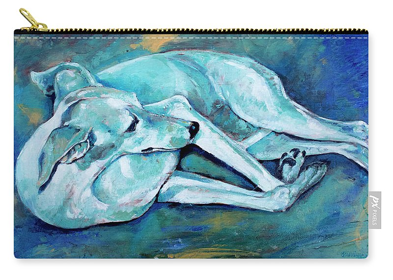 Dog Carry-all Pouch featuring the painting Whippet-effects Of Gravity-3 by Derrick Higgins