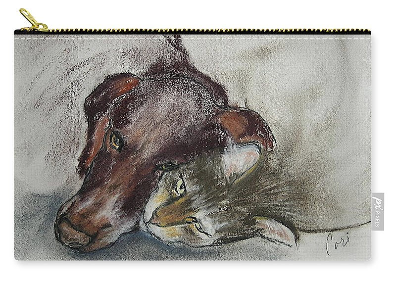Dog Carry-all Pouch featuring the drawing Whisker To Whisker by Cori Solomon