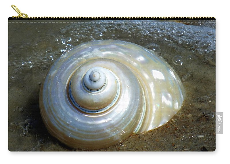 Seashells Carry-all Pouch featuring the photograph Whispering Tides by Karen Wiles