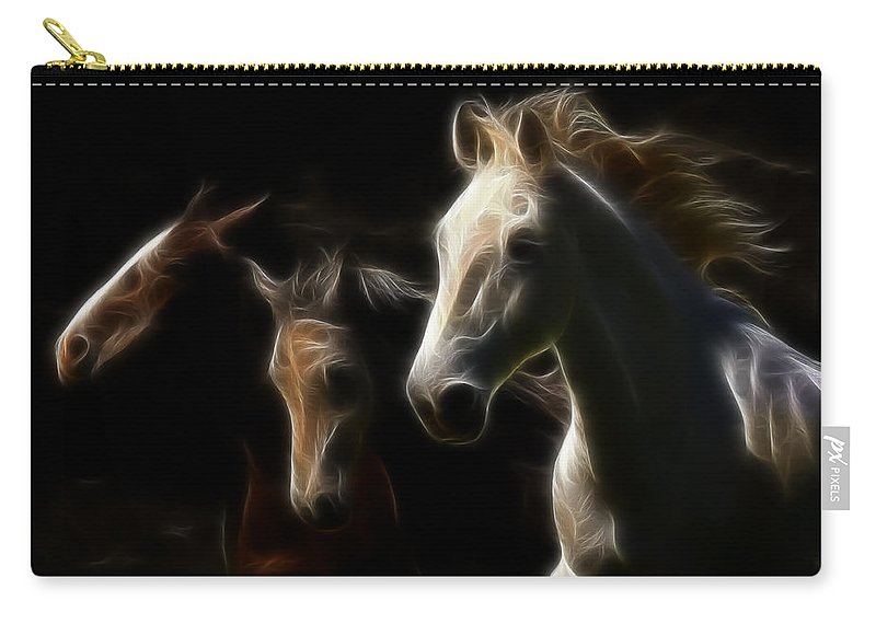 Horses Carry-all Pouch featuring the photograph Whispering Winds by Athena Mckinzie