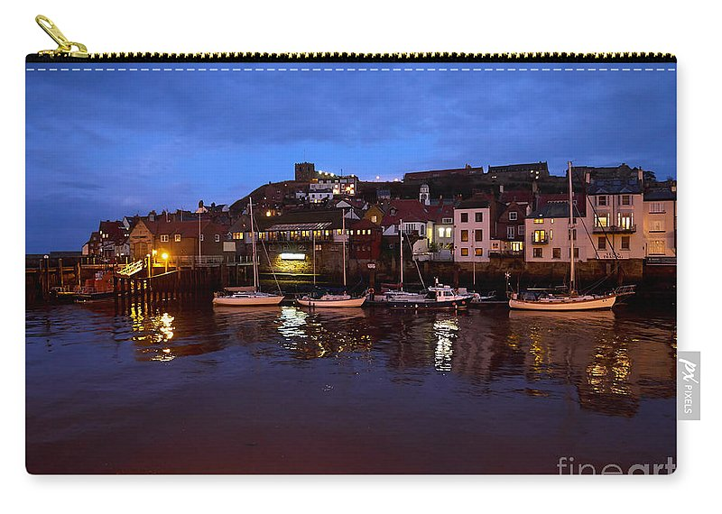 Whitby Carry-all Pouch featuring the photograph Whitby Lower Harbour At Night by Louise Heusinkveld