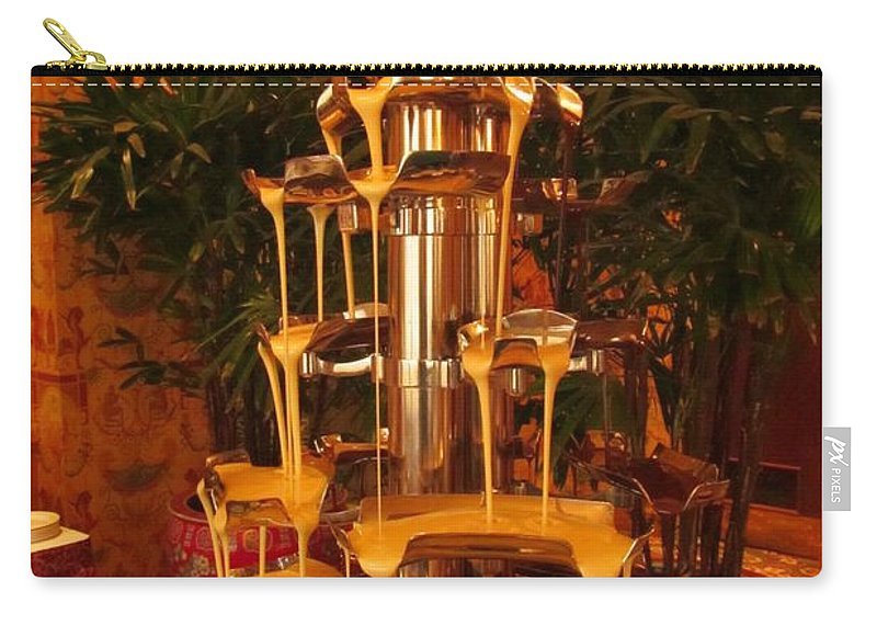 Fondue Fountains Art Carry-all Pouch featuring the photograph White And Dark Chocolate Fondue Fountain by John Malone