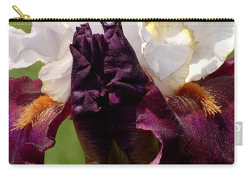 White Carry-all Pouch featuring the photograph White And Purple Iris by David Hohmann