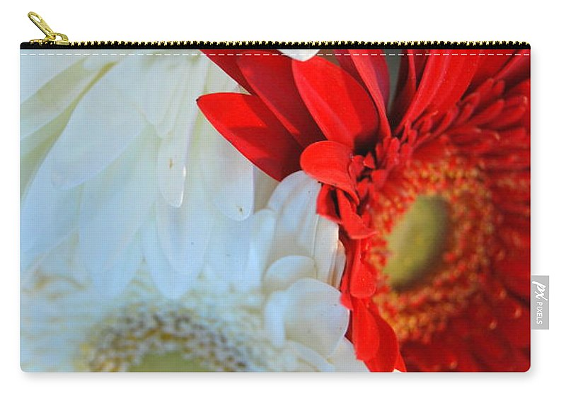 Carry-all Pouch featuring the photograph White And Red Flowers by Riad Belhimer