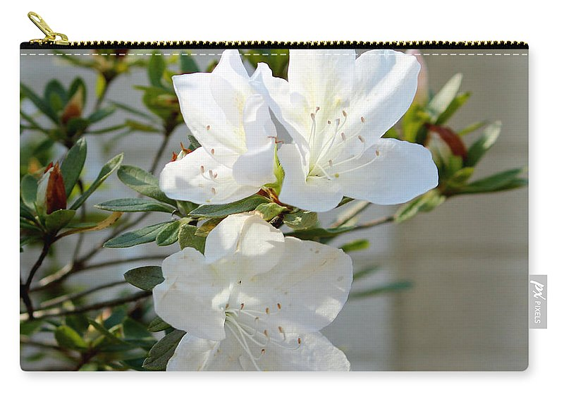 White Carry-all Pouch featuring the photograph White Azalea by Cynthia Guinn