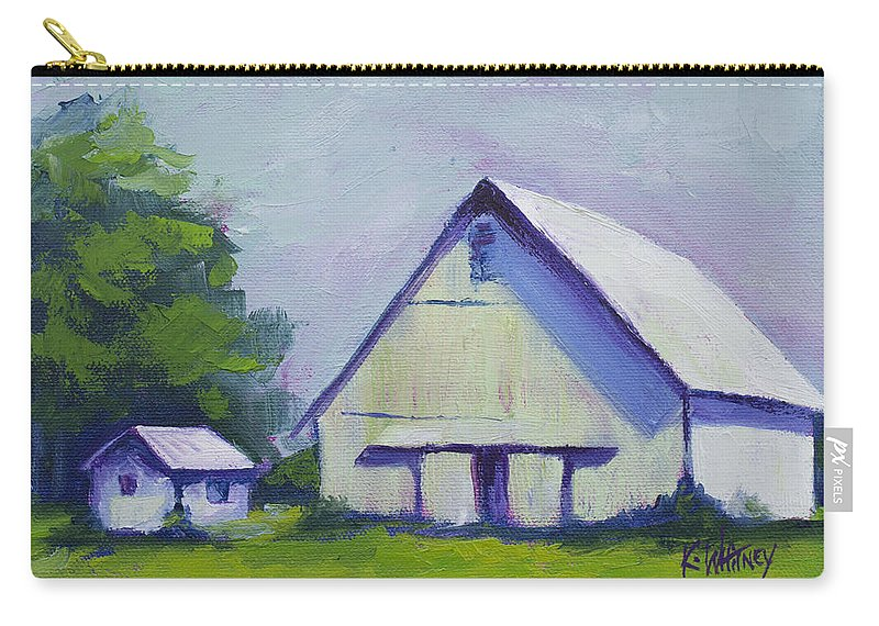 White Carry-all Pouch featuring the painting White Barn by Kristin Whitney