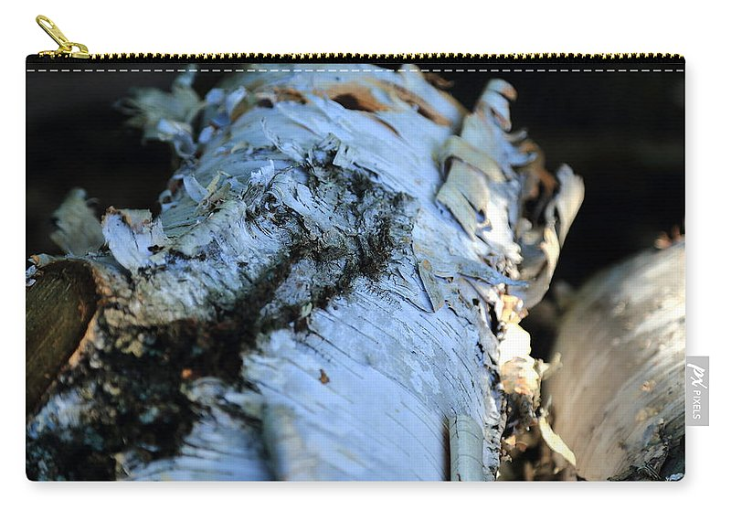 White Birch Carry-all Pouch featuring the photograph White Birch Log by Scott Hill