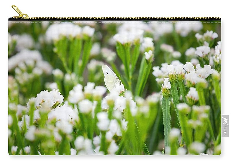 Butterfly Carry-all Pouch featuring the photograph White Butterfly by Pati Photography
