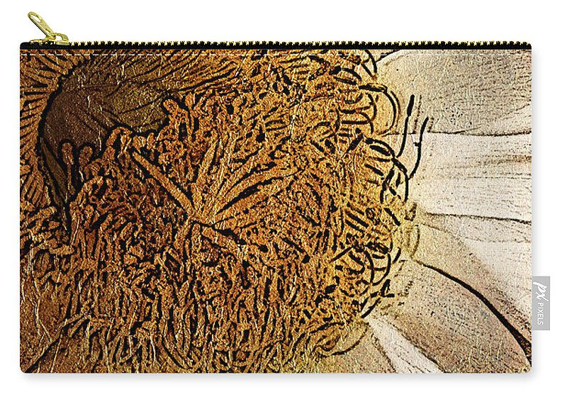 Flower Carry-all Pouch featuring the photograph White Cactus Flower Gold Leaf by Phyllis Denton