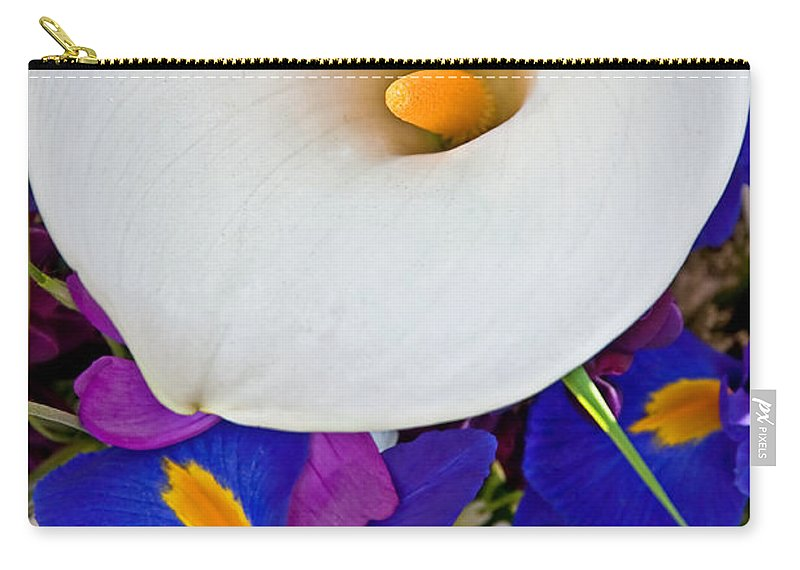Flowers Carry-all Pouch featuring the photograph White Calla Lily Bouquet Art Prints by Valerie Garner