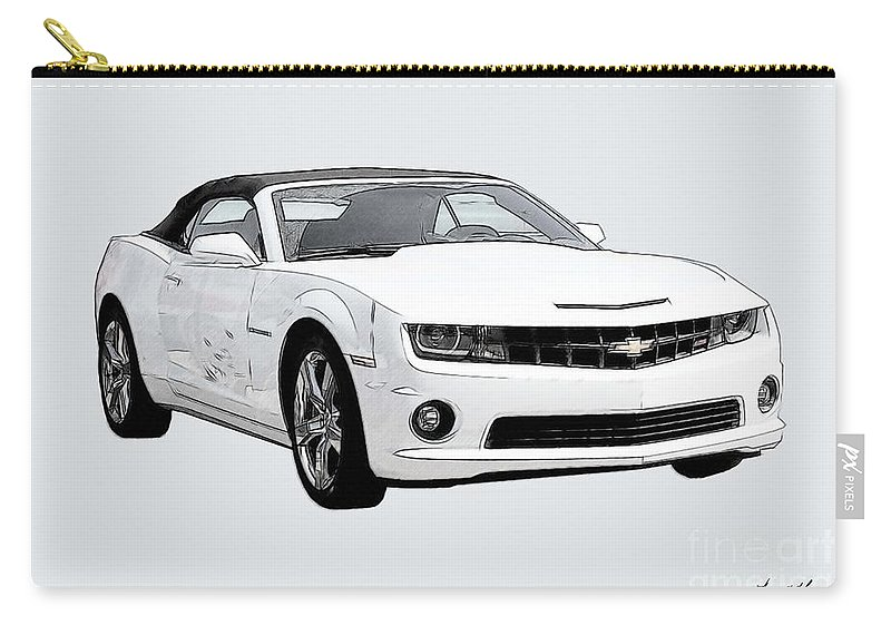 Camaro Carry-all Pouch featuring the digital art White Camaro by Tommy Anderson