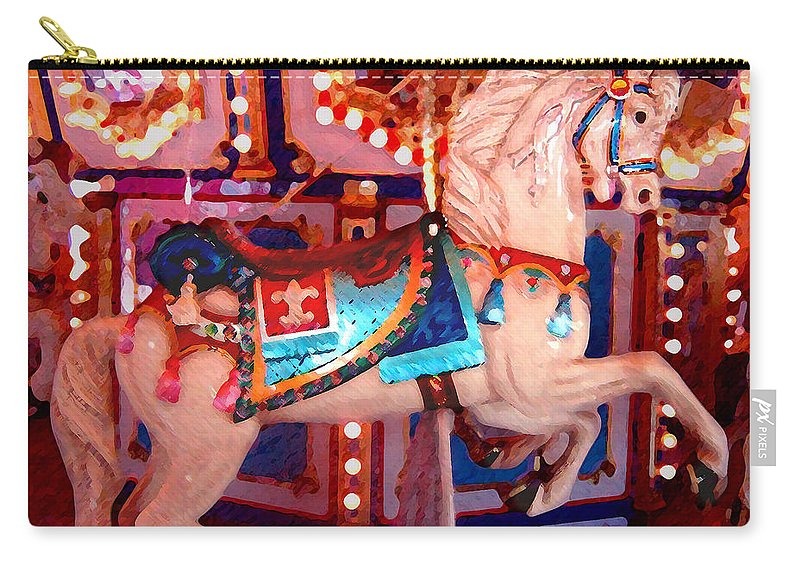 Horses Carry-all Pouch featuring the painting White Carousel Horse by Amy Vangsgard