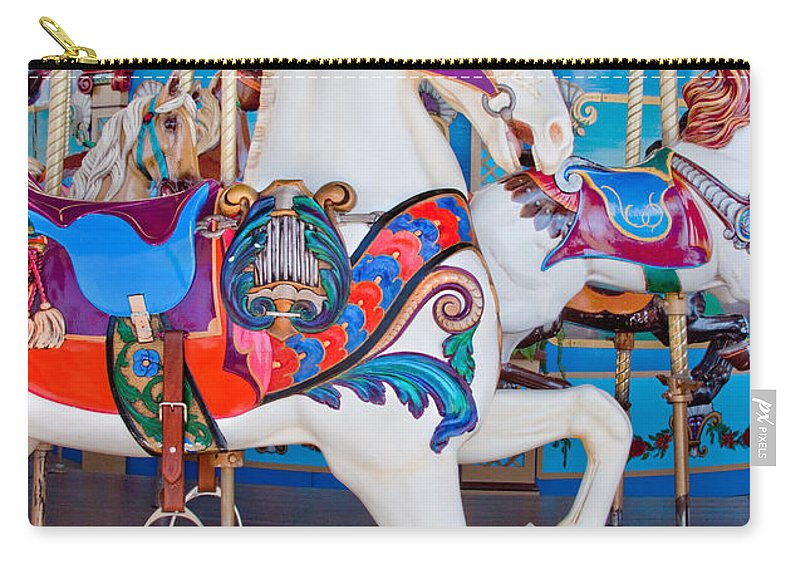 Carnival Carry-all Pouch featuring the photograph White Carousel Horse by David and Carol Kelly