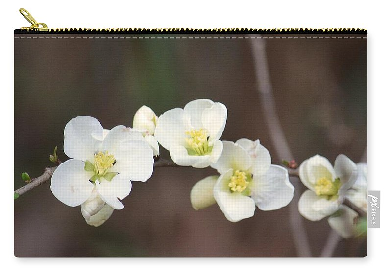 White Cherry Blossoms Carry-all Pouch featuring the photograph White Cherry Blossoms by Maria Urso