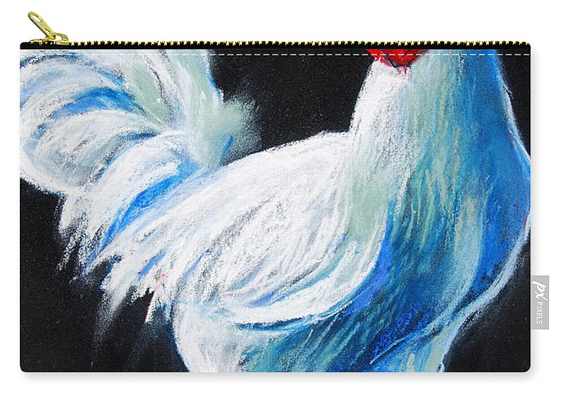 White Chicken Carry-all Pouch featuring the painting White Chicken by Mona Edulesco