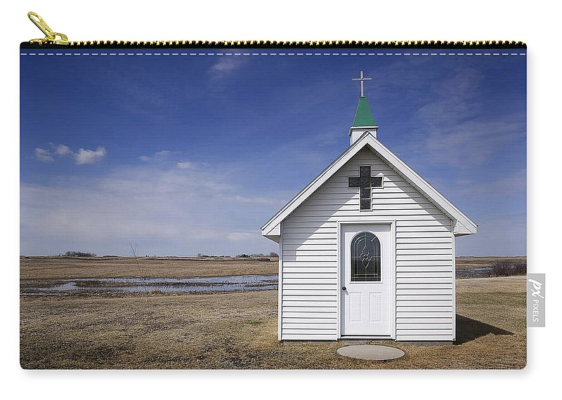 Church Carry-all Pouch featuring the photograph White Church Chapel On Prairie by Donald Erickson