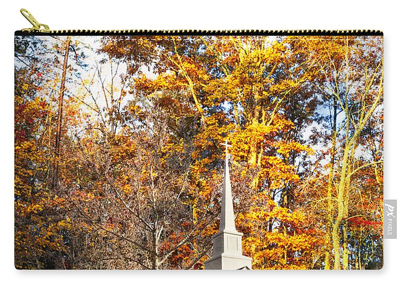 American Carry-all Pouch featuring the photograph White Church In Autumn by Debra and Dave Vanderlaan