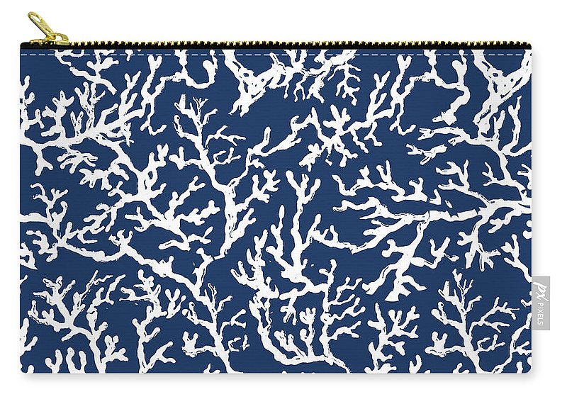 White Carry-all Pouch featuring the mixed media White Coral On Blue Pattern by Julie Derice