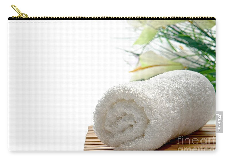 Towel Carry-all Pouch featuring the photograph White Cotton Towel by Olivier Le Queinec