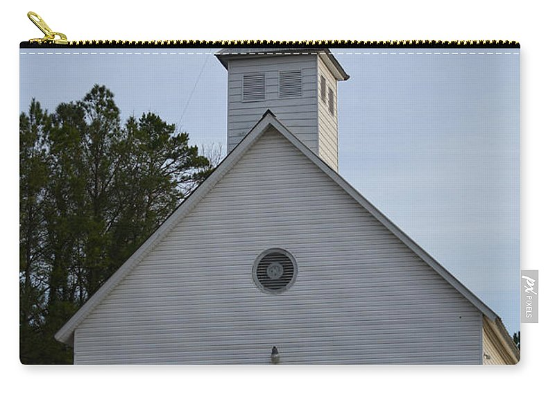 Stained Glass Carry-all Pouch featuring the photograph White Country Church Series Photo A by Barb Dalton