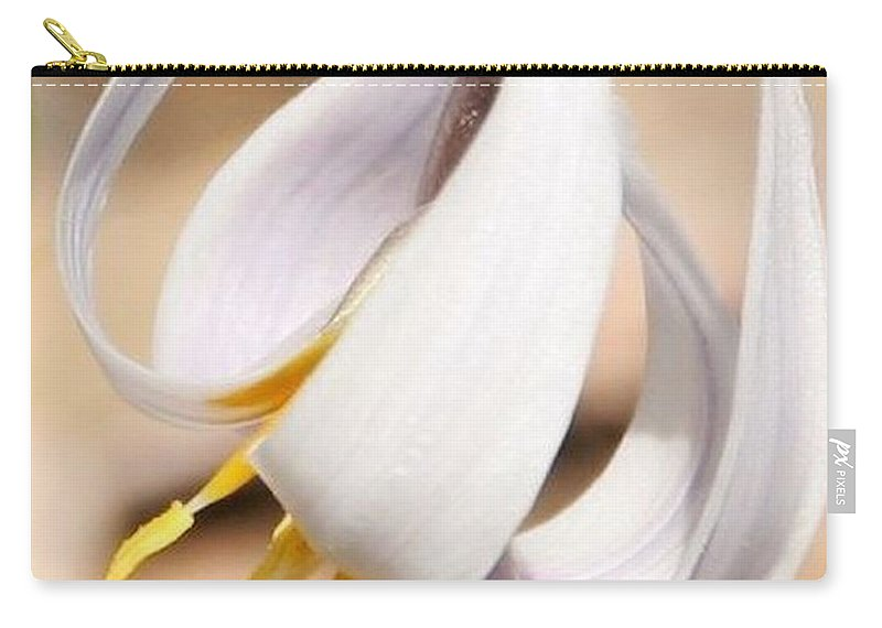 White Dog Tooth Violet.violet Carry-all Pouch featuring the photograph White Dog Tooth Violet by Eric Noa