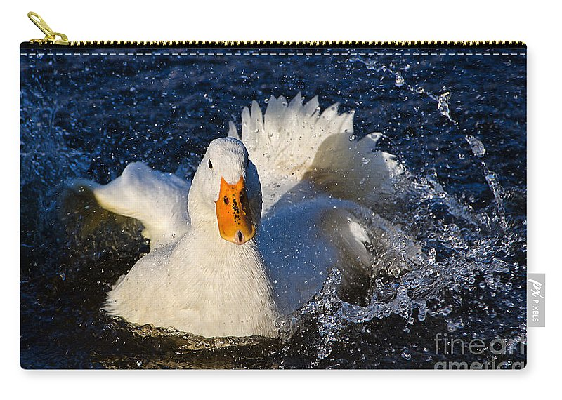 Duck Carry-all Pouch featuring the photograph White Duck 1 by Susie Peek