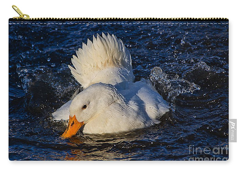 Duck Carry-all Pouch featuring the photograph White Duck 3 by Susie Peek