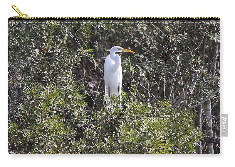 Egret Carry-all Pouch featuring the photograph White Egret In The Swamp by Christiane Schulze Art And Photography