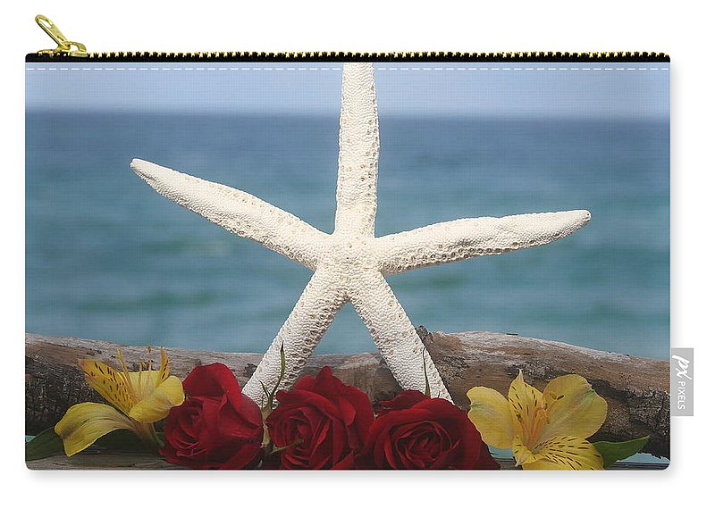 White Finger Starfish Carry-all Pouch featuring the photograph White Finger Starfish And Flowers by Cathy Lindsey