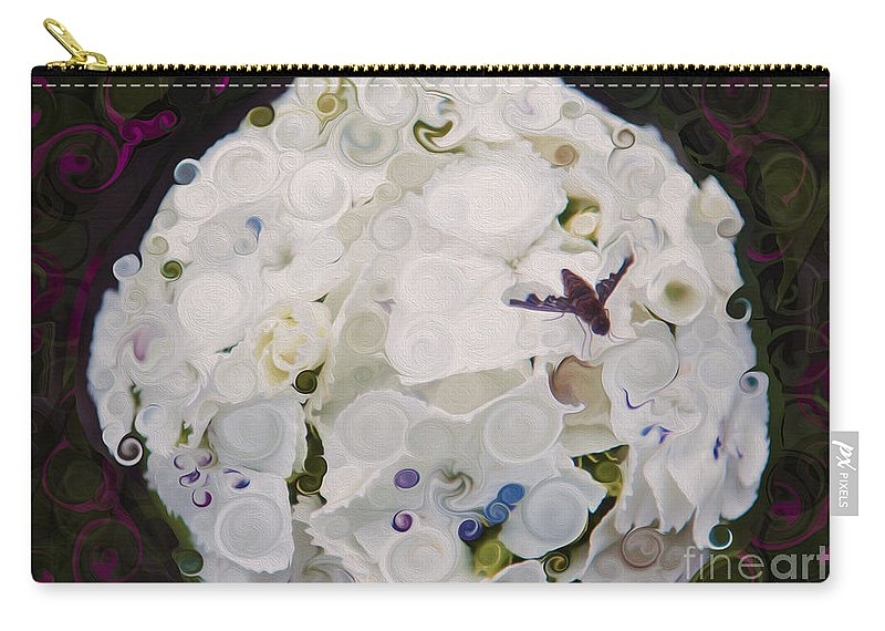 5x7 Carry-all Pouch featuring the painting White Flower And Friendly Bee Mixed Media Painting by Omaste Witkowski