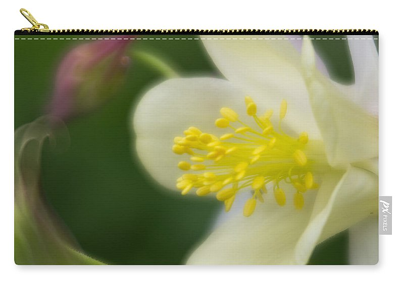 White Flower Carry-all Pouch featuring the photograph White Flower And Swirls by Greg Nyquist