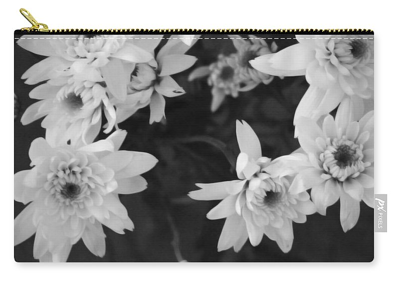 Flowers Carry-all Pouch featuring the photograph White Flowers- black and white photography by Linda Woods