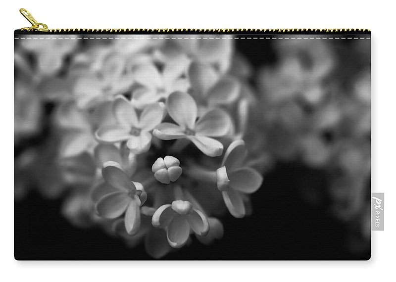 Flowers Carry-all Pouch featuring the photograph White Flowers In Black And White by Ramon Martinez