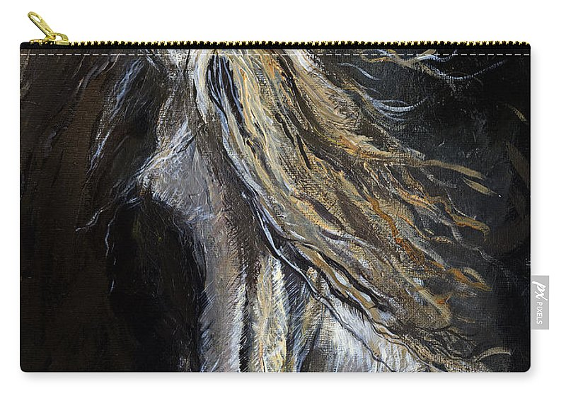Horse Carry-all Pouch featuring the painting White Ghost by Angel Ciesniarska