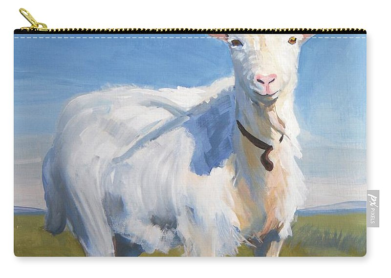 Goats Carry-all Pouch featuring the painting White Goat by Mike Jory