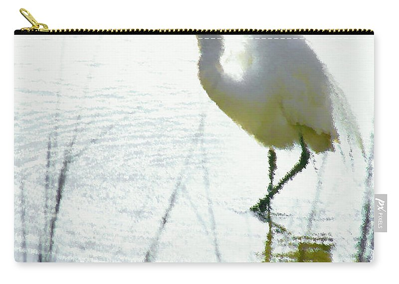 Heron Carry-all Pouch featuring the painting White Heron by Jeelan Clark