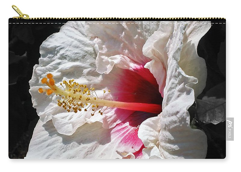 Photography Carry-all Pouch featuring the photograph White Hibiscus by Kaye Menner