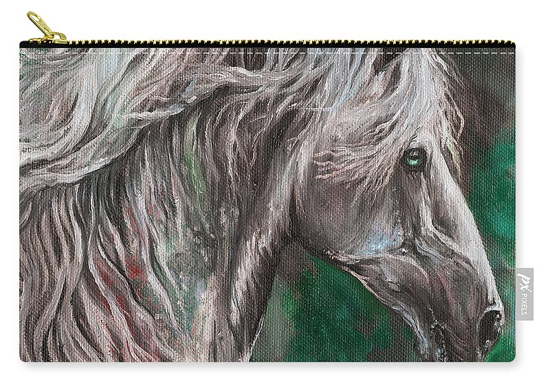 Horse Carry-all Pouch featuring the painting White Horse Painting by Angel Ciesniarska