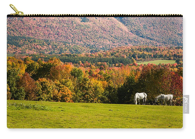 autumn Foliage New England Carry-all Pouch featuring the photograph White Horses Grazing With View Of Green Mtns by Jeff Folger