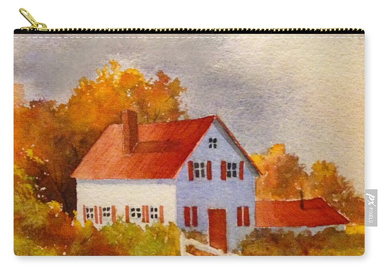 House Carry-all Pouch featuring the painting White House With Red Shutters by Teresa Ascone