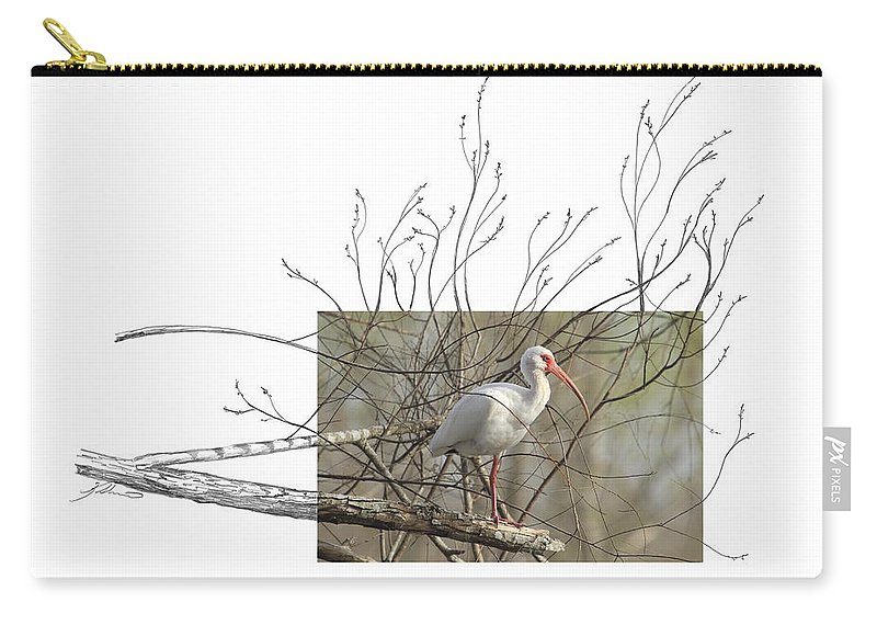 White Ibis Carry-all Pouch featuring the photograph White Ibis by Andrew McInnes