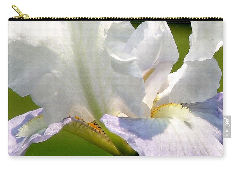 White Carry-all Pouch featuring the photograph White Iris by David Hohmann
