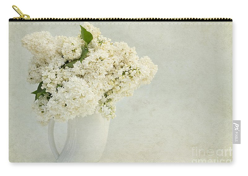 White Lilac Carry-all Pouch featuring the photograph White Lilac In A Cream Jug by Ann Garrett