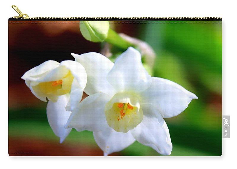 Flower Carry-all Pouch featuring the photograph White Lilly by Debra Forand