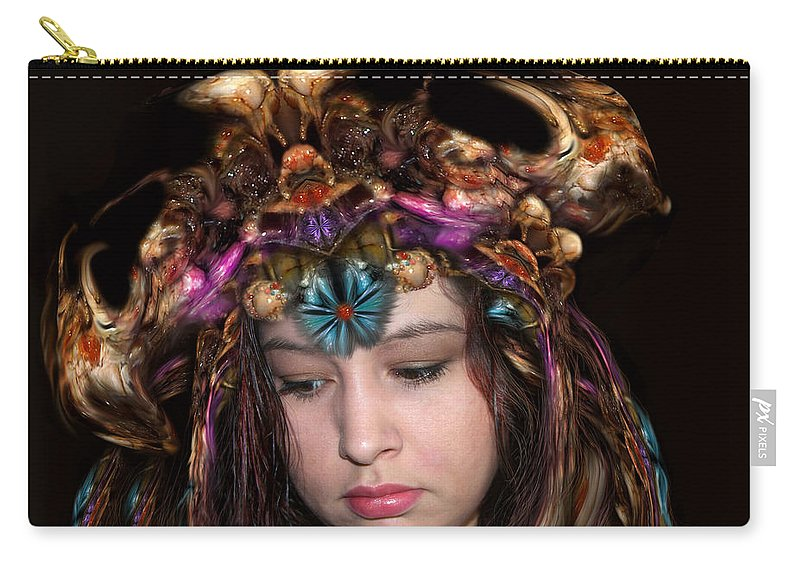 digital Art Carry-all Pouch featuring the digital art White Meat and Bones Tiara by Otto Rapp