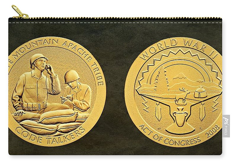 White Mountain Apache Carry-all Pouch featuring the photograph White Mountain Apache Tribe Code Talkers Bronze Medal Art by Movie Poster Prints