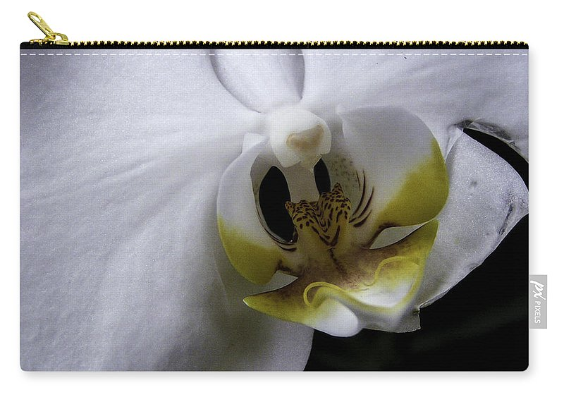 Flower Carry-all Pouch featuring the photograph White Orchid by Lovejoy Creations